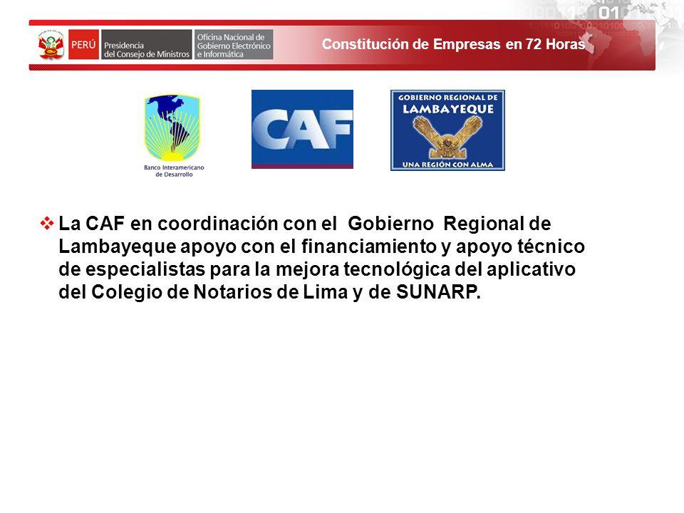 Constitución de Empresas en 72 Horas La CAF en coordinación con el Gobierno Regional de Lambayeque apoyo con el financiamiento y apoyo técnico de especialistas para la mejora tecnológica del aplicativo del Colegio de Notarios de Lima y de SUNARP.