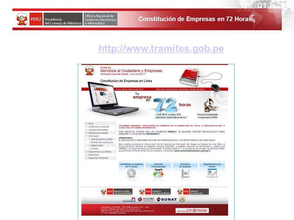 Constitución de Empresas en 72 Horas 1. El solicitante debe ingresar al Portal de Servicios al ciudadano y empresas. http://www.tramites.gob.pe