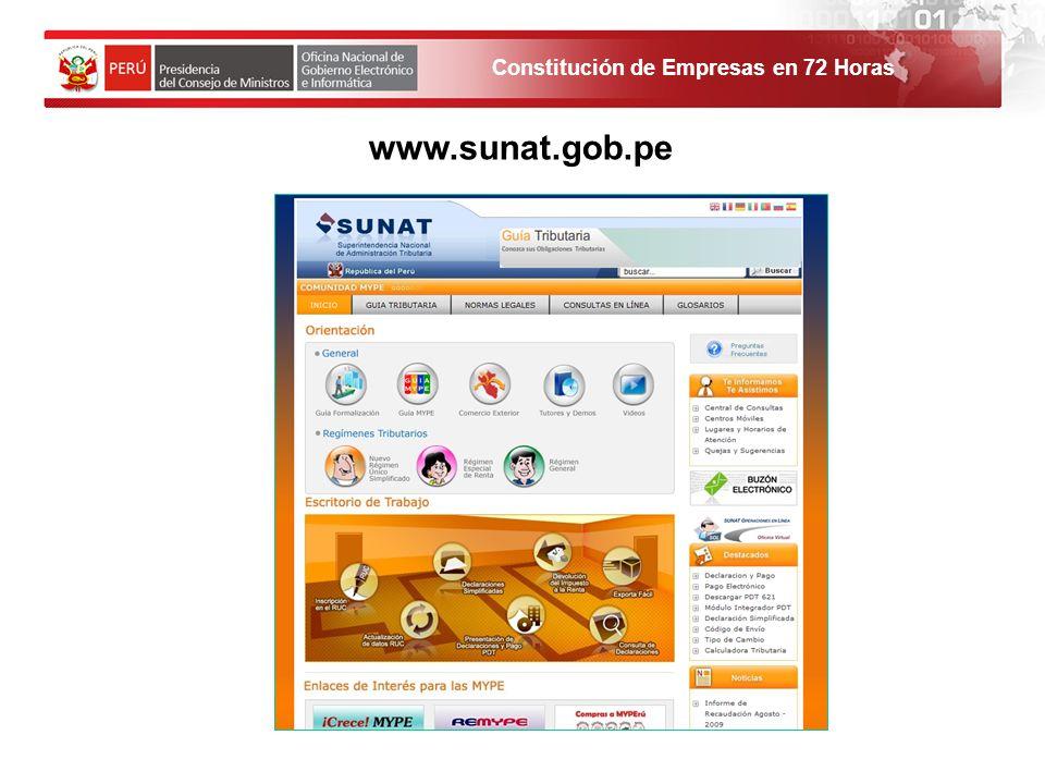 Constitución de Empresas en 72 Horas 1. El solicitante debe ingresar al Portal de Servicios al ciudadano y empresas. www.sunat.gob.pe