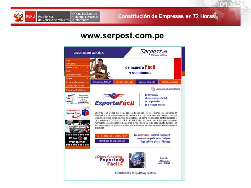 Constitución de Empresas en 72 Horas 1. El solicitante debe ingresar al Portal de Servicios al ciudadano y empresas. www.serpost.com.pe