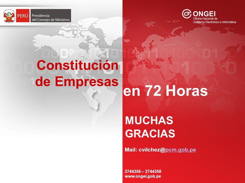 Constitución de Empresas en 72 Horas MUCHAS GRACIAS Mail: cvilchez@pcm.gob.pepcm.gob.pe 2744356 – 2744358 www.ongei.gob.pe