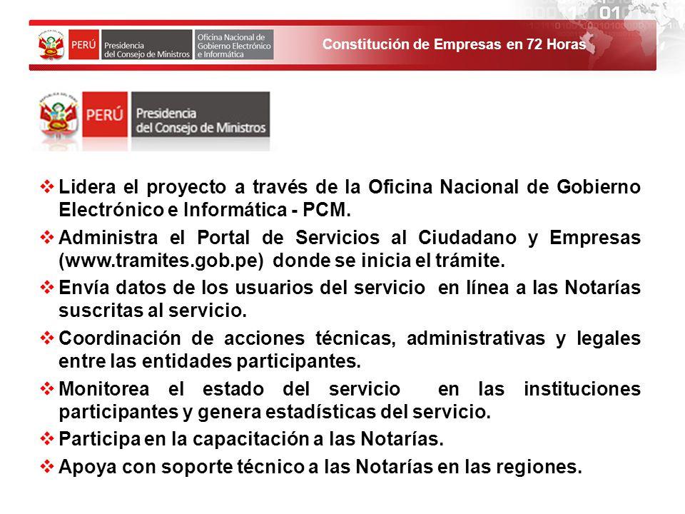 Constitución de Empresas en 72 Horas Lidera el proyecto a través de la Oficina Nacional de Gobierno Electrónico e Informática - PCM. Administra el Por