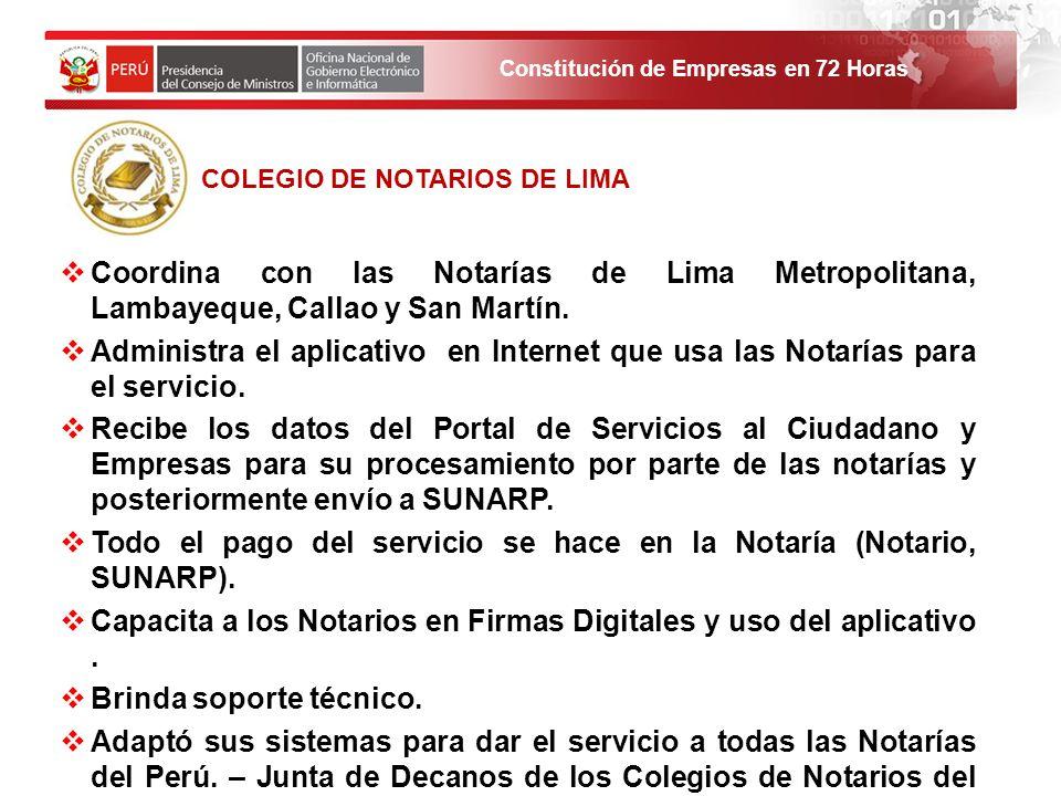 Constitución de Empresas en 72 Horas Coordina con las Notarías de Lima Metropolitana, Lambayeque, Callao y San Martín. Administra el aplicativo en Int