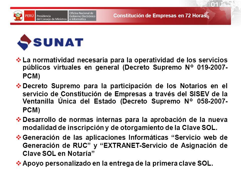 Constitución de Empresas en 72 Horas La normatividad necesaria para la operatividad de los servicios públicos virtuales en general (Decreto Supremo N°