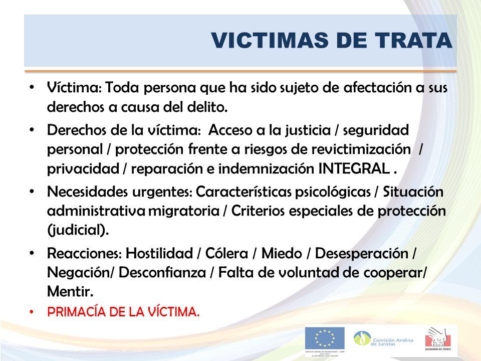 VICTIMAS DE TRATA Víctima: Toda persona que ha sido sujeto de afectación a sus derechos a causa del delito. Derechos de la víctima: Acceso a la justic