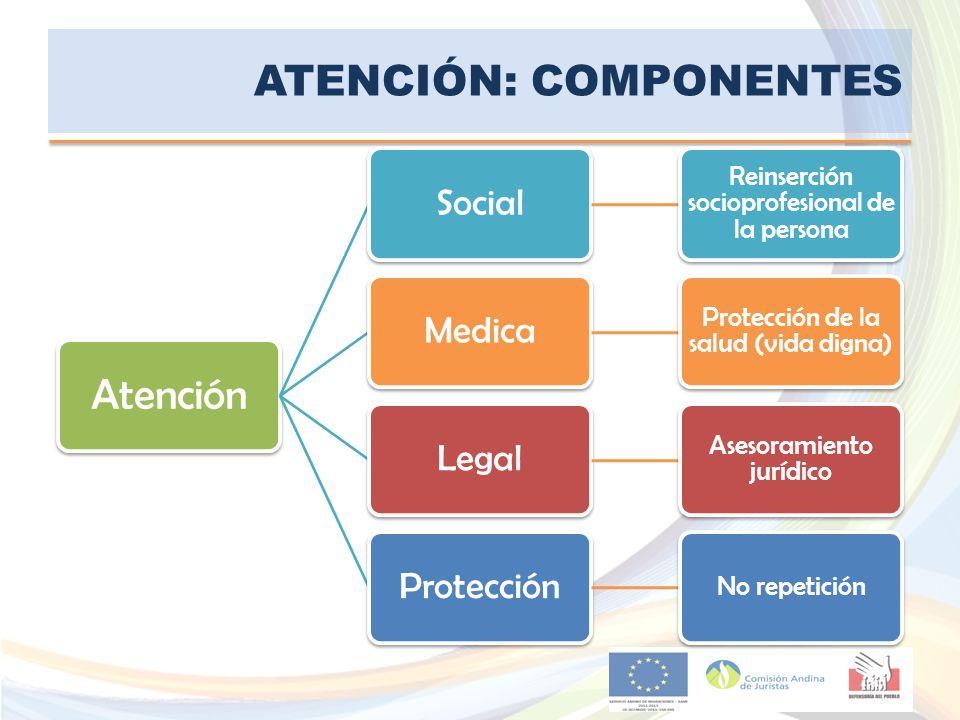ATENCIÓN: COMPONENTES Atención Social Reinserción socioprofesional de la persona Medica Protección de la salud (vida digna) Legal Asesoramiento jurídi