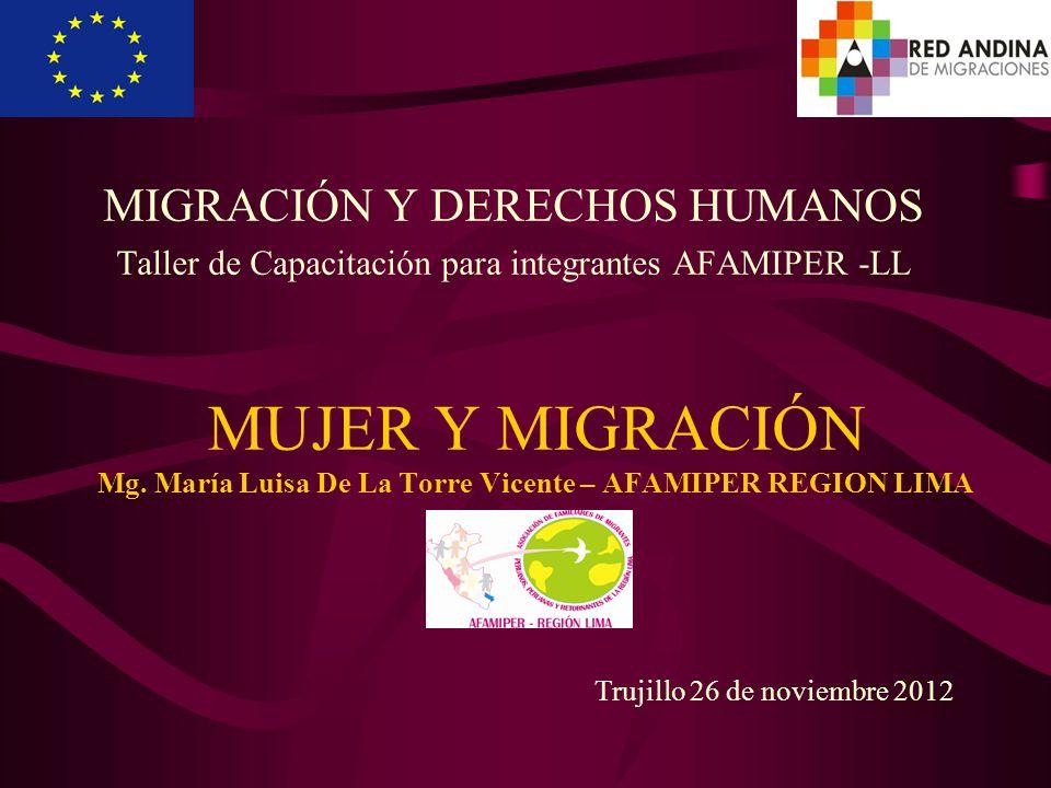 MUJER Y MIGRACIÓN Mg. María Luisa De La Torre Vicente – AFAMIPER REGION LIMA MIGRACIÓN Y DERECHOS HUMANOS Taller de Capacitación para integrantes AFAM
