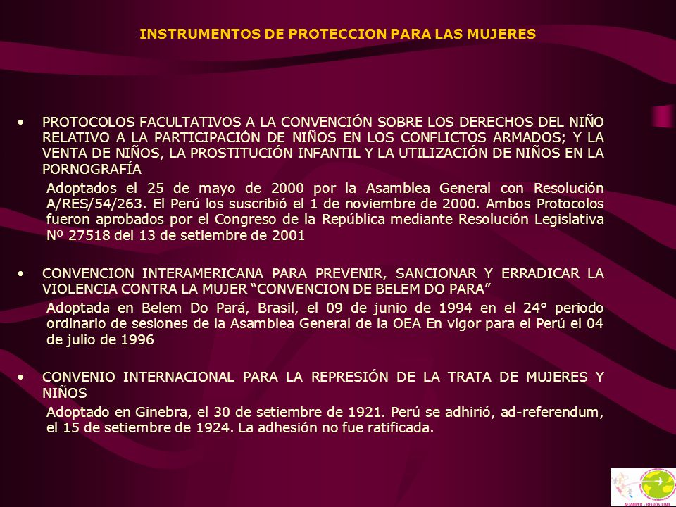 INSTRUMENTOS DE PROTECCION PARA LAS MUJERES PROTOCOLOS FACULTATIVOS A LA CONVENCIÓN SOBRE LOS DERECHOS DEL NIÑO RELATIVO A LA PARTICIPACIÓN DE NIÑOS E