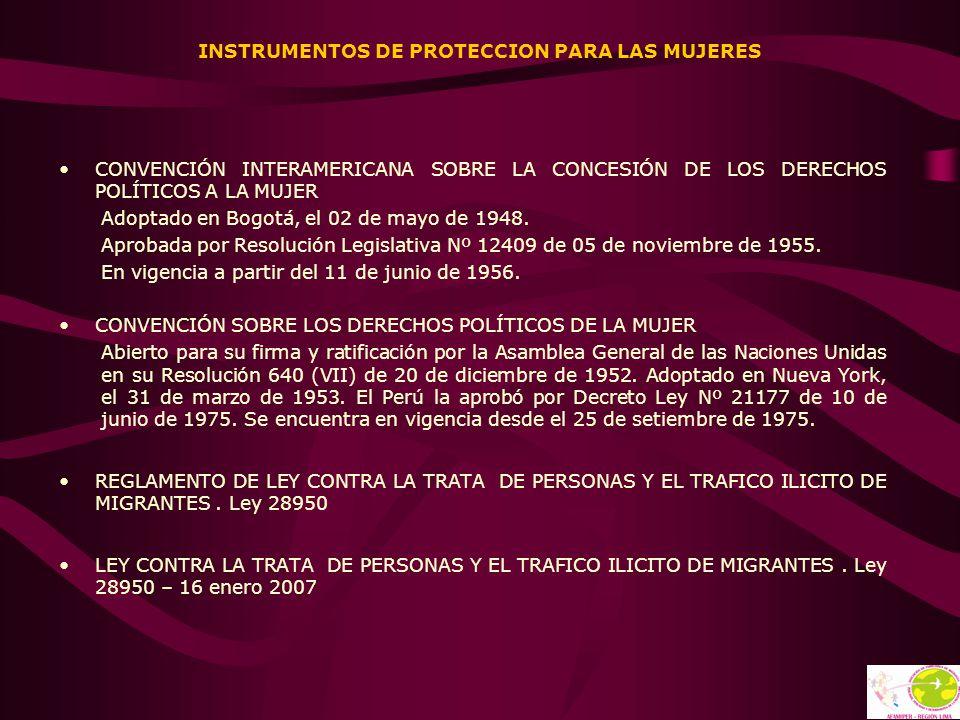 INSTRUMENTOS DE PROTECCION PARA LAS MUJERES CONVENCIÓN INTERAMERICANA SOBRE LA CONCESIÓN DE LOS DERECHOS POLÍTICOS A LA MUJER Adoptado en Bogotá, el 0