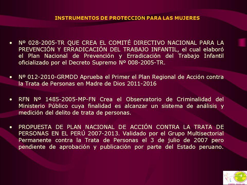 INSTRUMENTOS DE PROTECCION PARA LAS MUJERES Nº 028-2005-TR QUE CREA EL COMITÉ DIRECTIVO NACIONAL PARA LA PREVENCIÓN Y ERRADICACIÓN DEL TRABAJO INFANTI