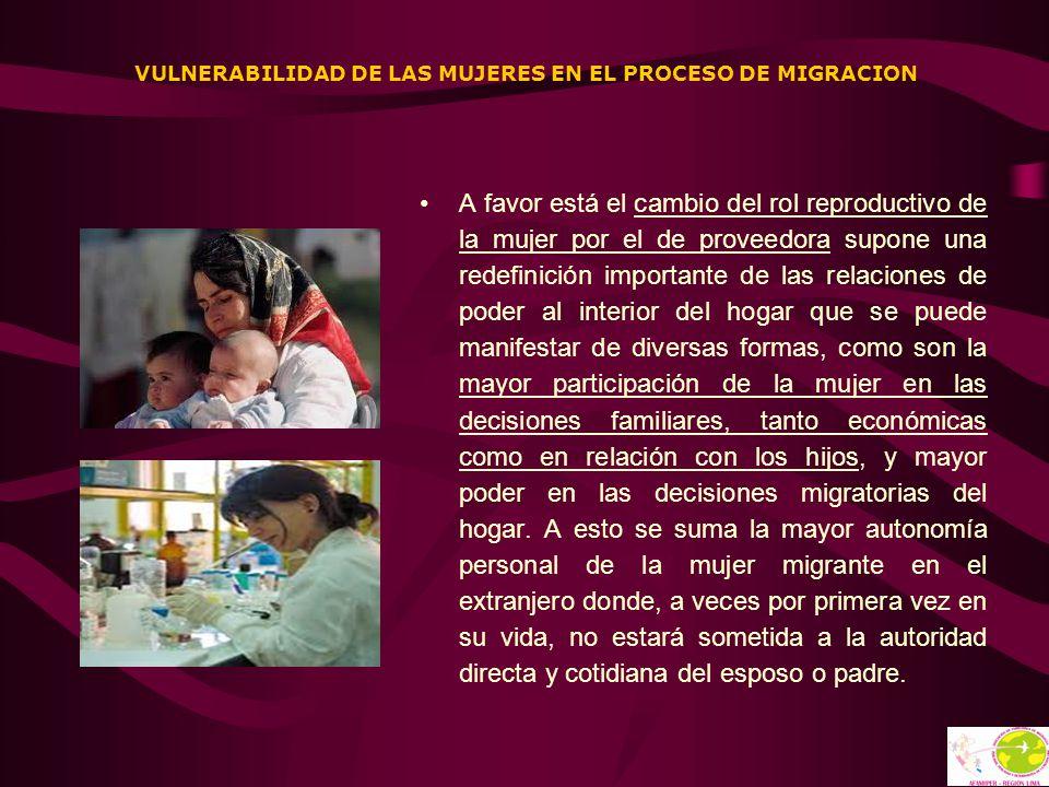 VULNERABILIDAD DE LAS MUJERES EN EL PROCESO DE MIGRACION A favor está el cambio del rol reproductivo de la mujer por el de proveedora supone una redef