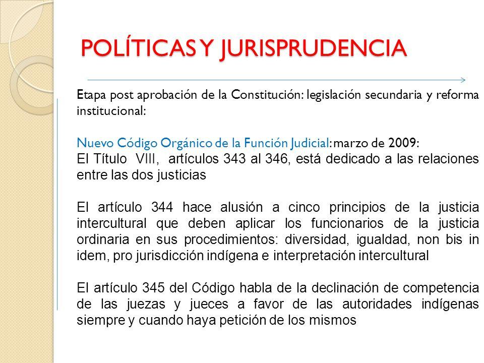 POLÍTICAS Y JURISPRUDENCIA Etapa post aprobación de la Constitución: legislación secundaria y reforma institucional: Nuevo Código Orgánico de la Funci