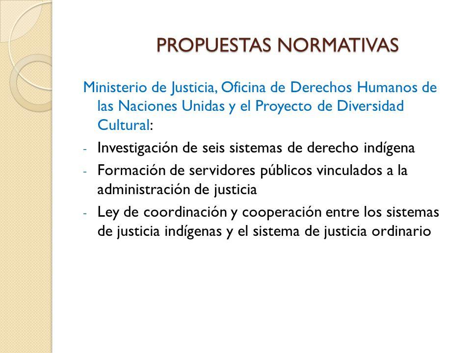 PROPUESTAS NORMATIVAS Ministerio de Justicia, Oficina de Derechos Humanos de las Naciones Unidas y el Proyecto de Diversidad Cultural: - Investigación