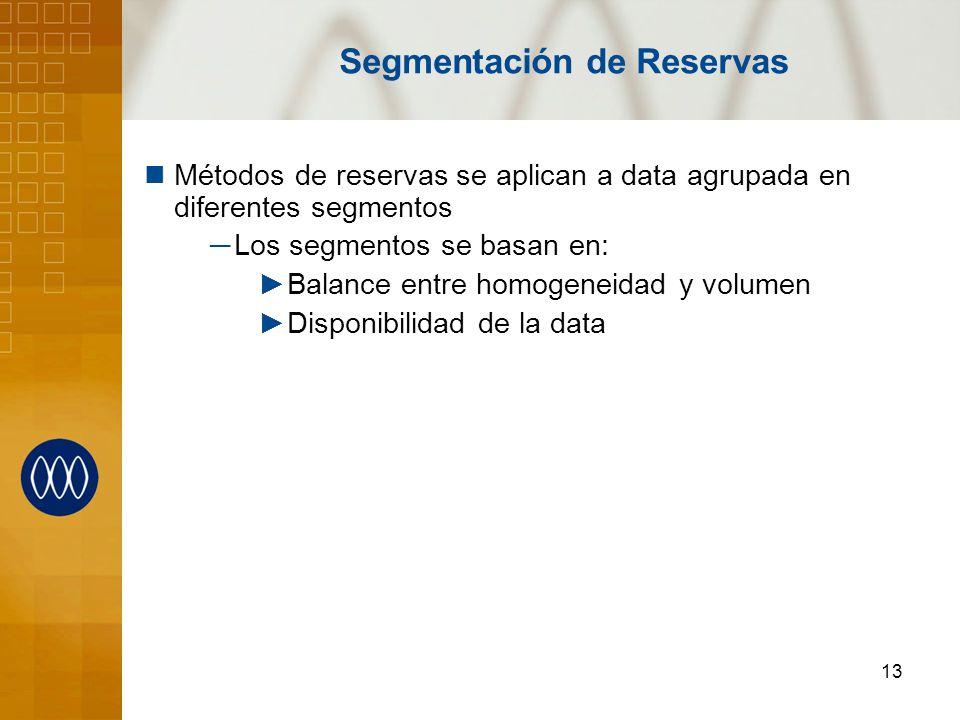 13 Segmentación de Reservas Métodos de reservas se aplican a data agrupada en diferentes segmentos Los segmentos se basan en: Balance entre homogeneid