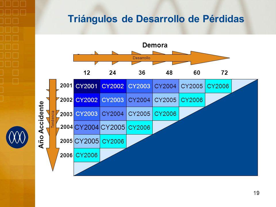 19 Triángulos de Desarrollo de Pérdidas CY2002 CY2003 CY2004 CY2005 Demora Año Accidente CY2006 12 24 36 48 60 72 CY2001 Desarrollo Trend Desarrollo T