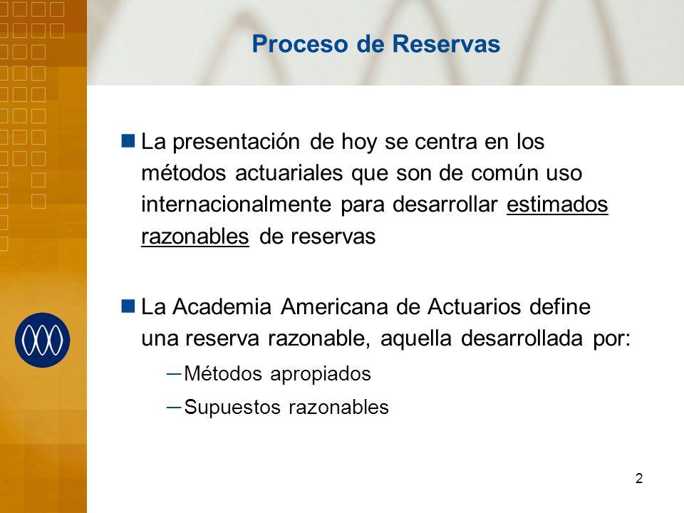 2 Proceso de Reservas La presentación de hoy se centra en los métodos actuariales que son de común uso internacionalmente para desarrollar estimados r