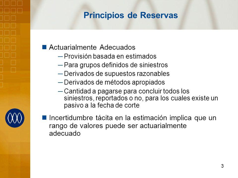 3 Principios de Reservas Actuarialmente Adecuados Provisión basada en estimados Para grupos definidos de siniestros Derivados de supuestos razonables