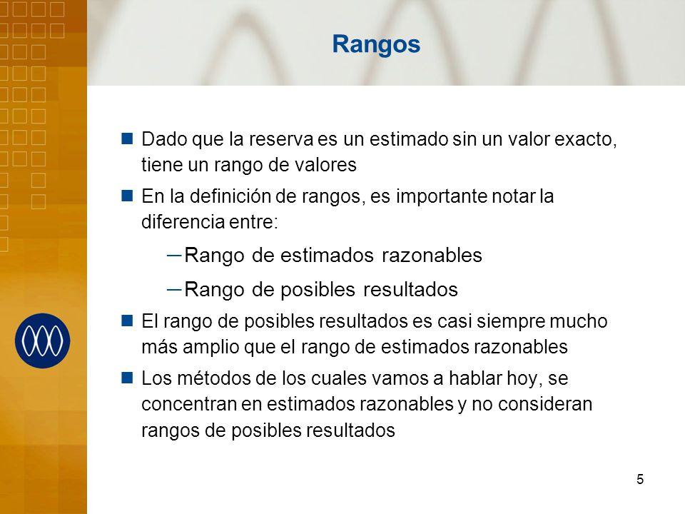 5 Rangos Dado que la reserva es un estimado sin un valor exacto, tiene un rango de valores En la definición de rangos, es importante notar la diferenc