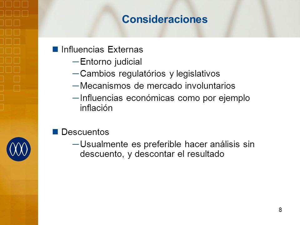 8 Consideraciones Influencias Externas Entorno judicial Cambios regulatórios y legislativos Mecanismos de mercado involuntarios Influencias económicas