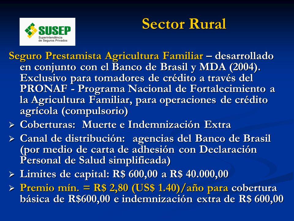 Sector Rural Seguro Prestamista Agricultura Familiar – desarrollado en conjunto con el Banco de Brasil y MDA (2004).