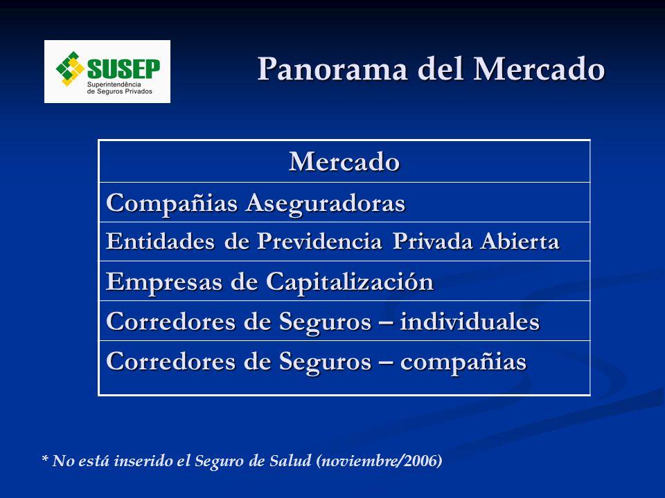 Panorama del Mercado * No está inserido el Seguro de Salud (noviembre/2006) Mercado Compañias Aseguradoras Entidades de Previdencia Privada Abierta Empresas de Capitalización Corredores de Seguros – individuales Corredores de Seguros – compañias