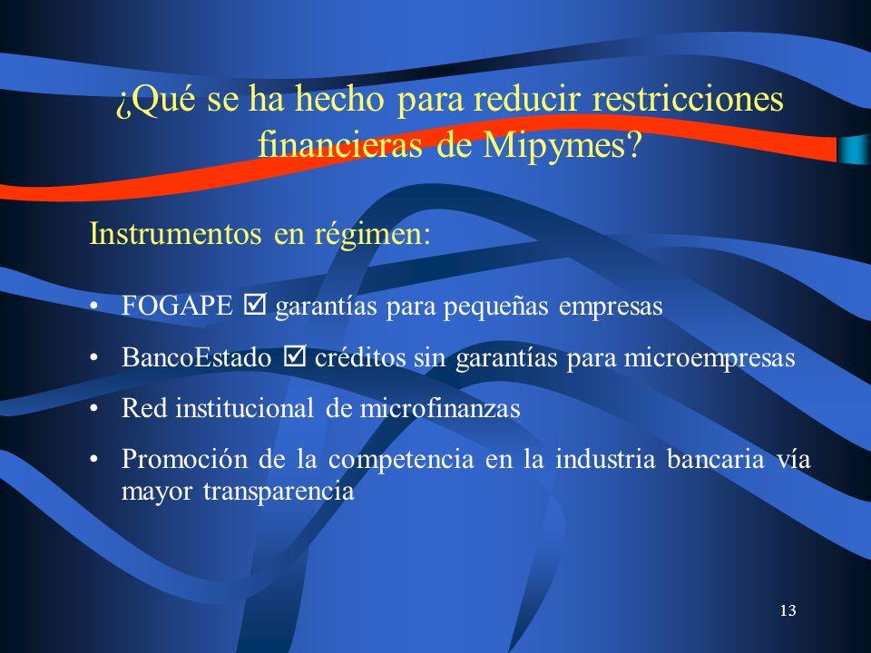 13 ¿Qué se ha hecho para reducir restricciones financieras de Mipymes.