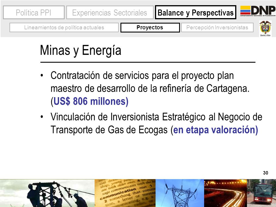 30 Experiencias SectorialesPolítica PPI Balance y Perspectivas Lineamientos de política actuales Minas y Energía Contratación de servicios para el pro