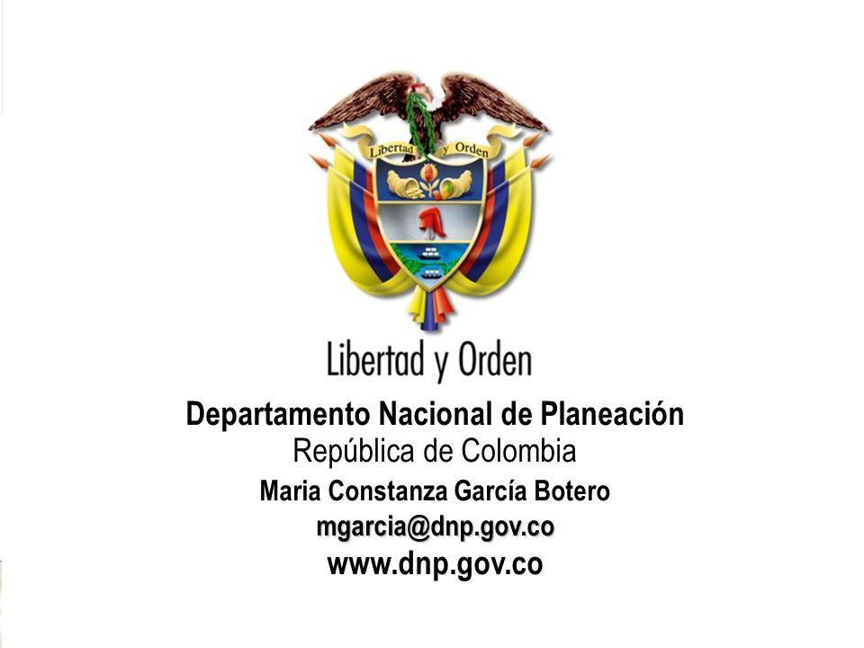 33 Departamento Nacional de Planeación República de Colombia mgarcia@dnp.gov.co Maria Constanza García Botero mgarcia@dnp.gov.co www.dnp.gov.co