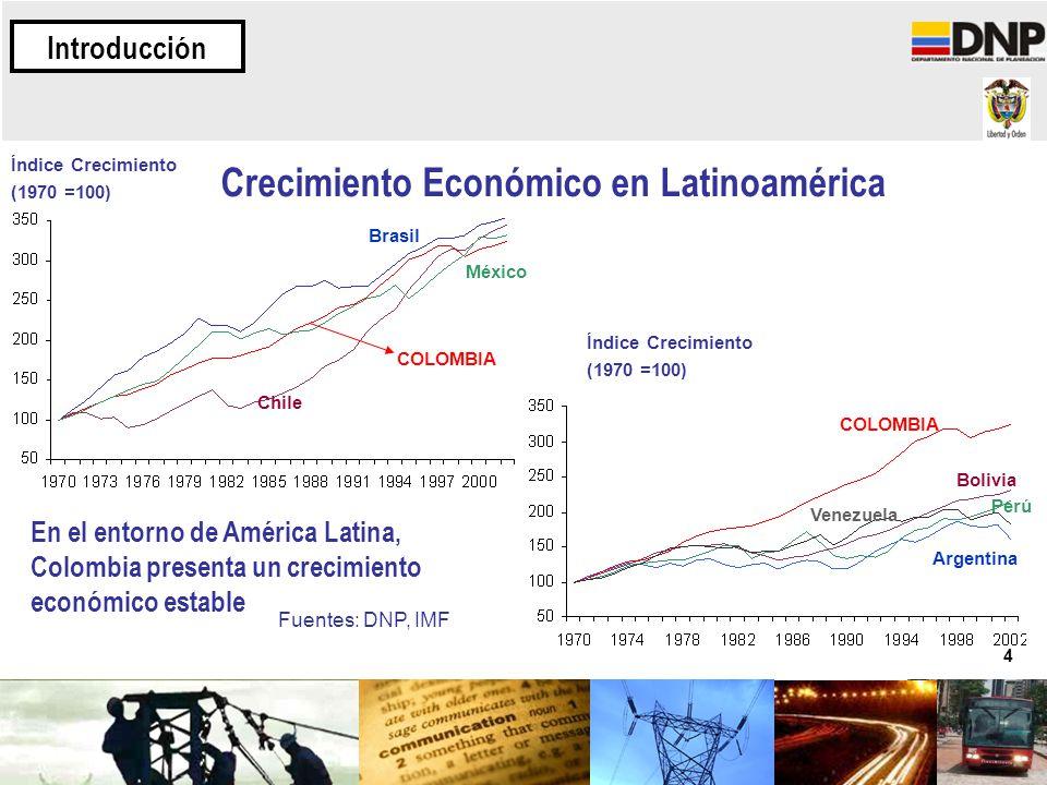 4 COLOMBIA Brasil Chile México COLOMBIA Argentina Perú Bolivia Venezuela Índice Crecimiento (1970 =100) En el entorno de América Latina, Colombia pres