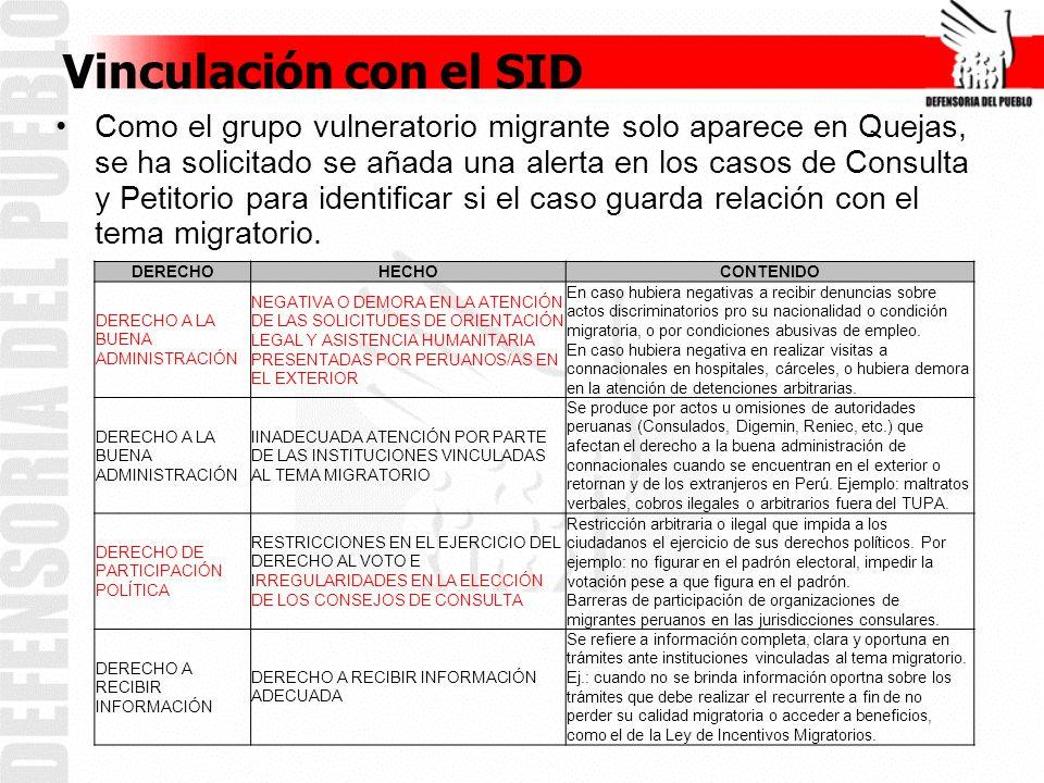 Vinculación con el SID Como el grupo vulneratorio migrante solo aparece en Quejas, se ha solicitado se añada una alerta en los casos de Consulta y Petitorio para identificar si el caso guarda relación con el tema migratorio.