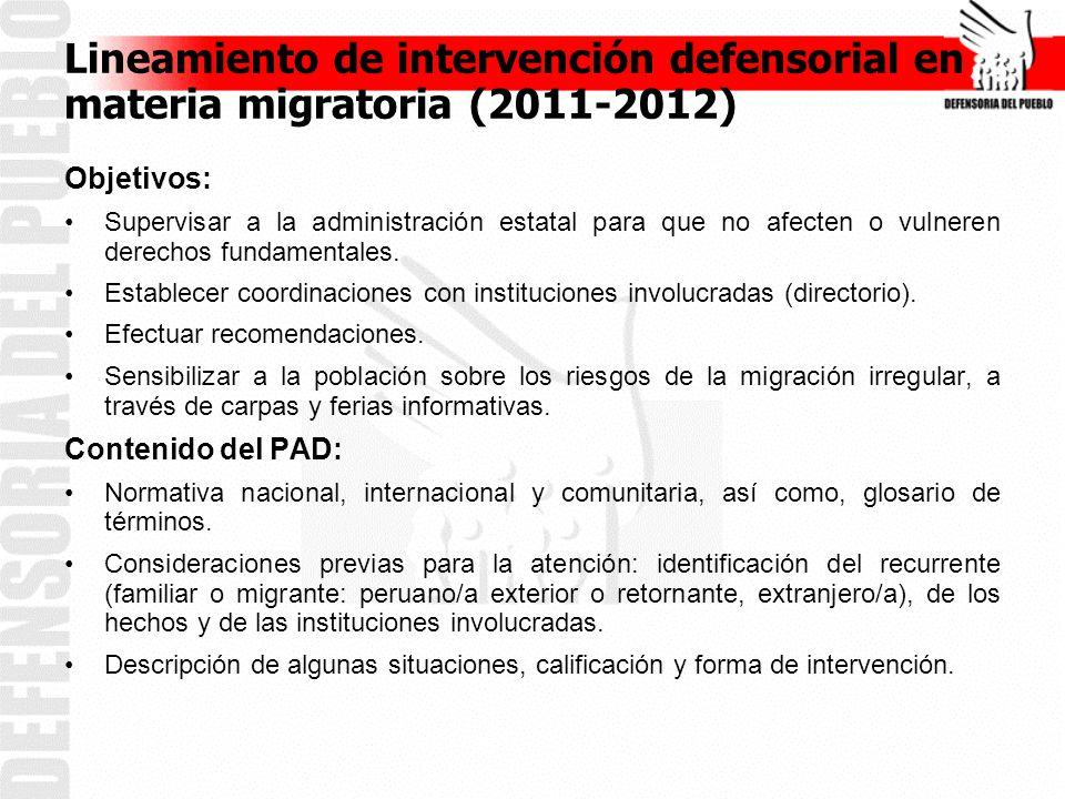 Lineamiento de intervención defensorial en materia migratoria (2011-2012) Objetivos: Supervisar a la administración estatal para que no afecten o vulneren derechos fundamentales.