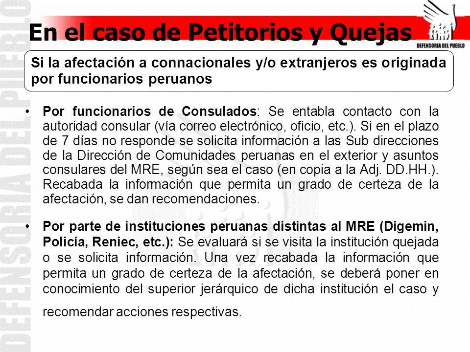 En el caso de Petitorios y Quejas Si la afectación a connacionales es originada por funcionario extranjero Se debe coordinar con el Consulado de la jurisdicción correspondiente, vía correo electrónico o a través de la Sub Dirección de Asistencia al Nacional del MRE.
