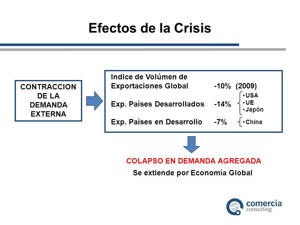 Efectos de la Crisis CONTRACCION DE LA DEMANDA EXTERNA Indice de Volúmen de Exportaciones Global -10% (2009) Exp. Países Desarrollados-14% Exp. Países