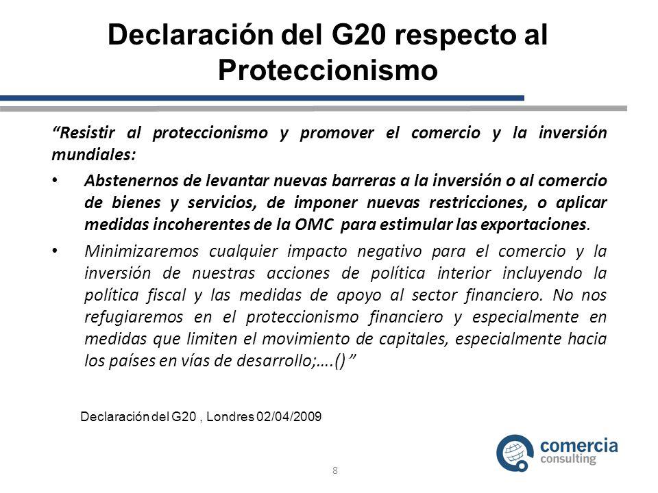 Declaración del G20 respecto al Proteccionismo Resistir al proteccionismo y promover el comercio y la inversión mundiales: Abstenernos de levantar nuevas barreras a la inversión o al comercio de bienes y servicios, de imponer nuevas restricciones, o aplicar medidas incoherentes de la OMC para estimular las exportaciones.