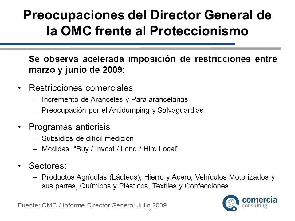 Preocupaciones del Director General de la OMC frente al Proteccionismo Se observa acelerada imposición de restricciones entre marzo y junio de 2009: R