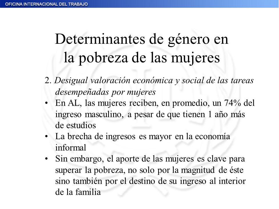 2. Desigual valoración económica y social de las tareas desempeñadas por mujeres En AL, las mujeres reciben, en promedio, un 74% del ingreso masculino