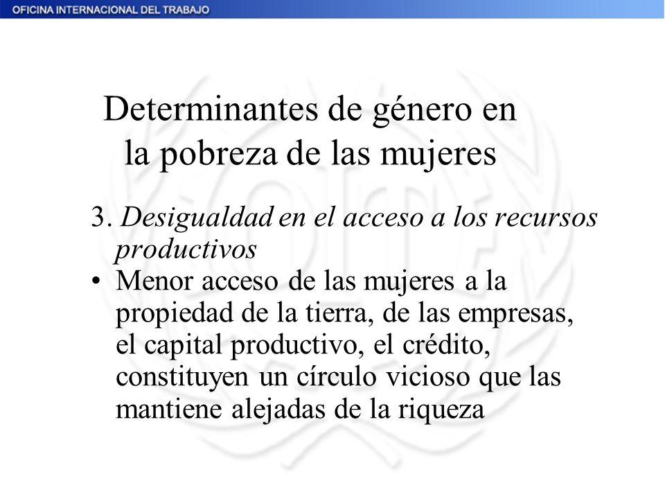 3. Desigualdad en el acceso a los recursos productivos Menor acceso de las mujeres a la propiedad de la tierra, de las empresas, el capital productivo
