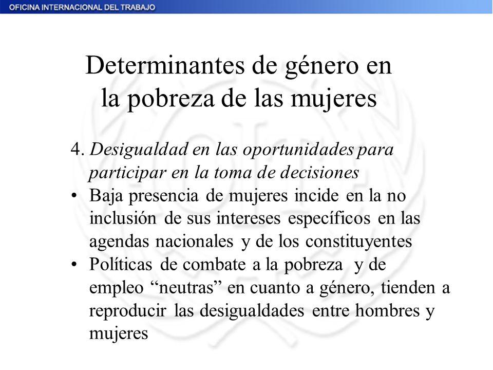 4. Desigualdad en las oportunidades para participar en la toma de decisiones Baja presencia de mujeres incide en la no inclusión de sus intereses espe