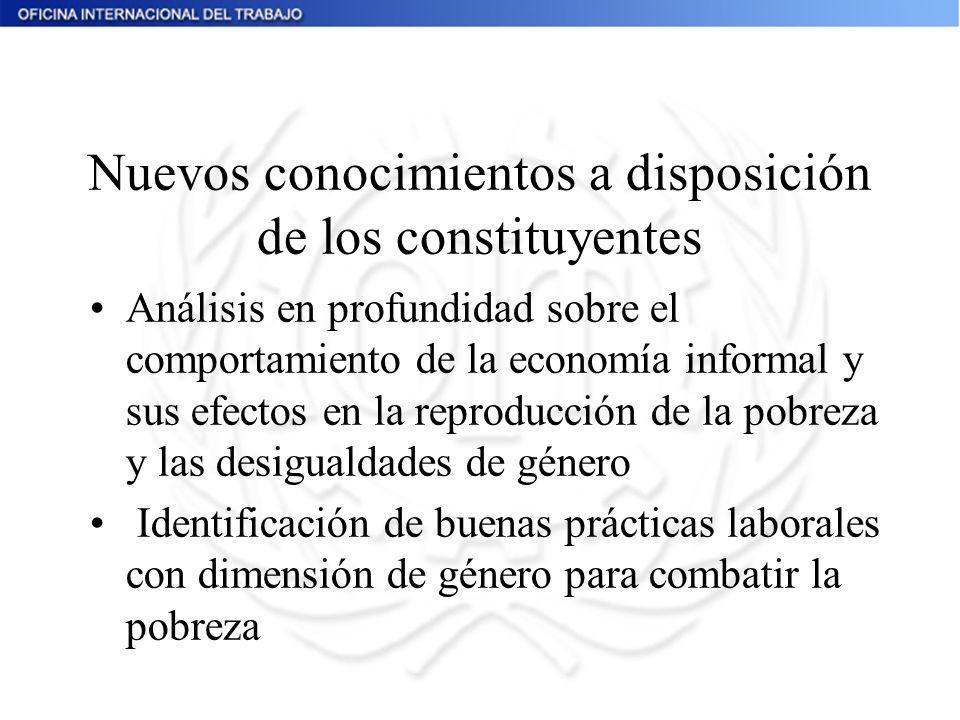 Nuevos conocimientos a disposición de los constituyentes Análisis en profundidad sobre el comportamiento de la economía informal y sus efectos en la r