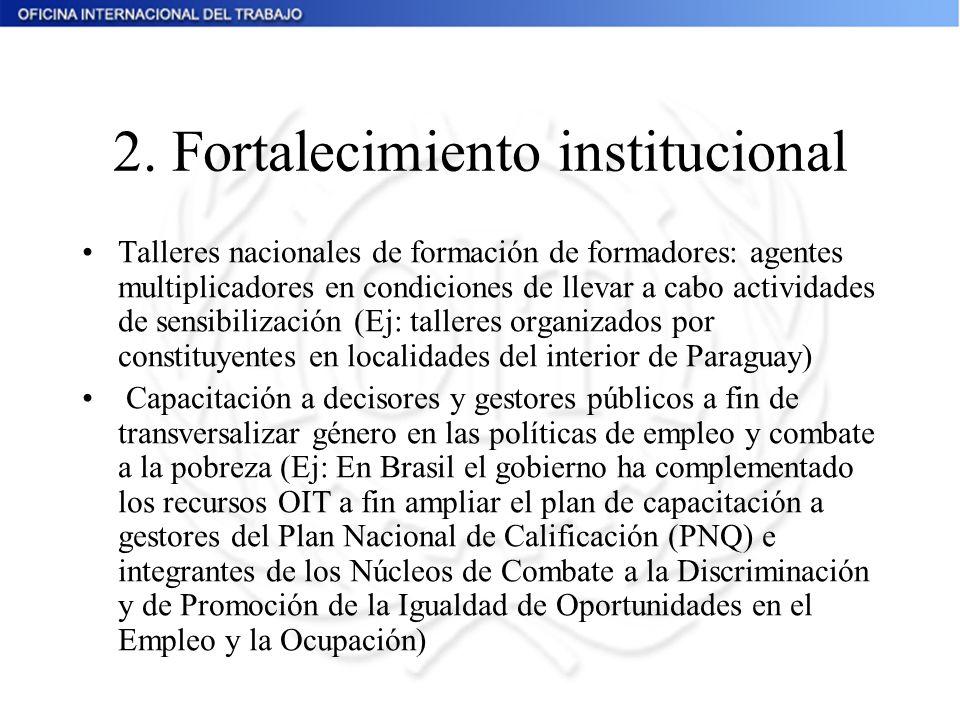 2. Fortalecimiento institucional Talleres nacionales de formación de formadores: agentes multiplicadores en condiciones de llevar a cabo actividades d