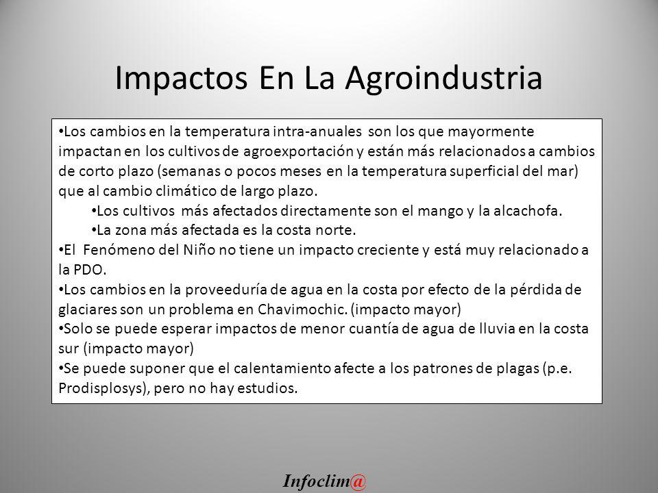 Impactos En La Agroindustria Los cambios en la temperatura intra-anuales son los que mayormente impactan en los cultivos de agroexportación y están má