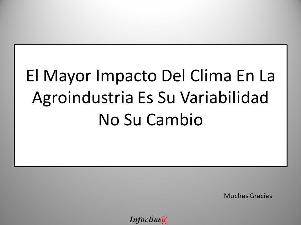 El Mayor Impacto Del Clima En La Agroindustria Es Su Variabilidad No Su Cambio Muchas Gracias Infoclim@