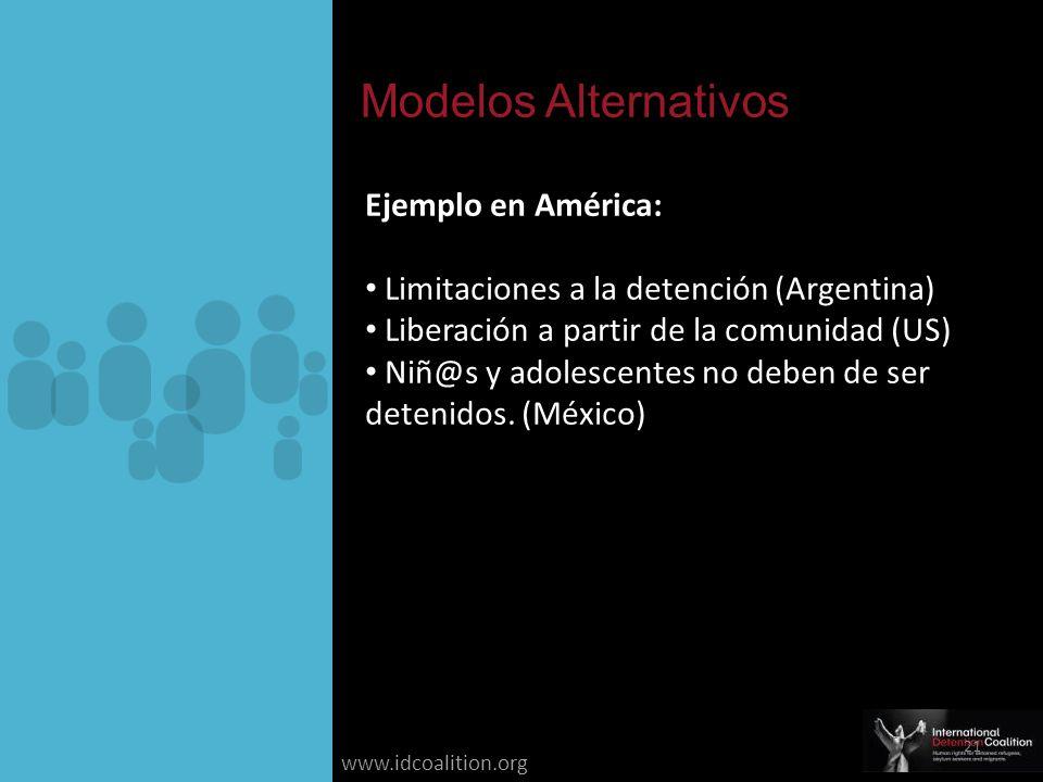 www.idcoalition.org Ejemplo en América: Limitaciones a la detención (Argentina) Liberación a partir de la comunidad (US) Niñ@s y adolescentes no deben de ser detenidos.