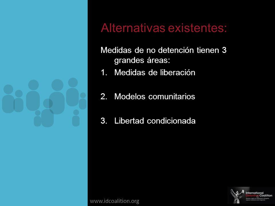 www.idcoalition.org Medidas de no detención tienen 3 grandes áreas: 1.Medidas de liberación 2.Modelos comunitarios 3.Libertad condicionada Alternativas existentes: 6