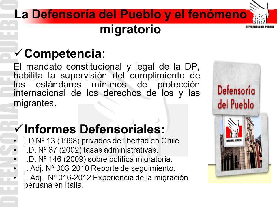 La Defensoría del Pueblo y el fenómeno migratorio Competencia: El mandato constitucional y legal de la DP, habilita la supervisión del cumplimiento de