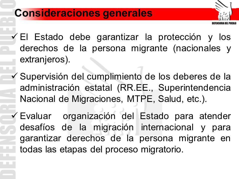 Consideraciones generales El Estado debe garantizar la protección y los derechos de la persona migrante (nacionales y extranjeros). Supervisión del cu