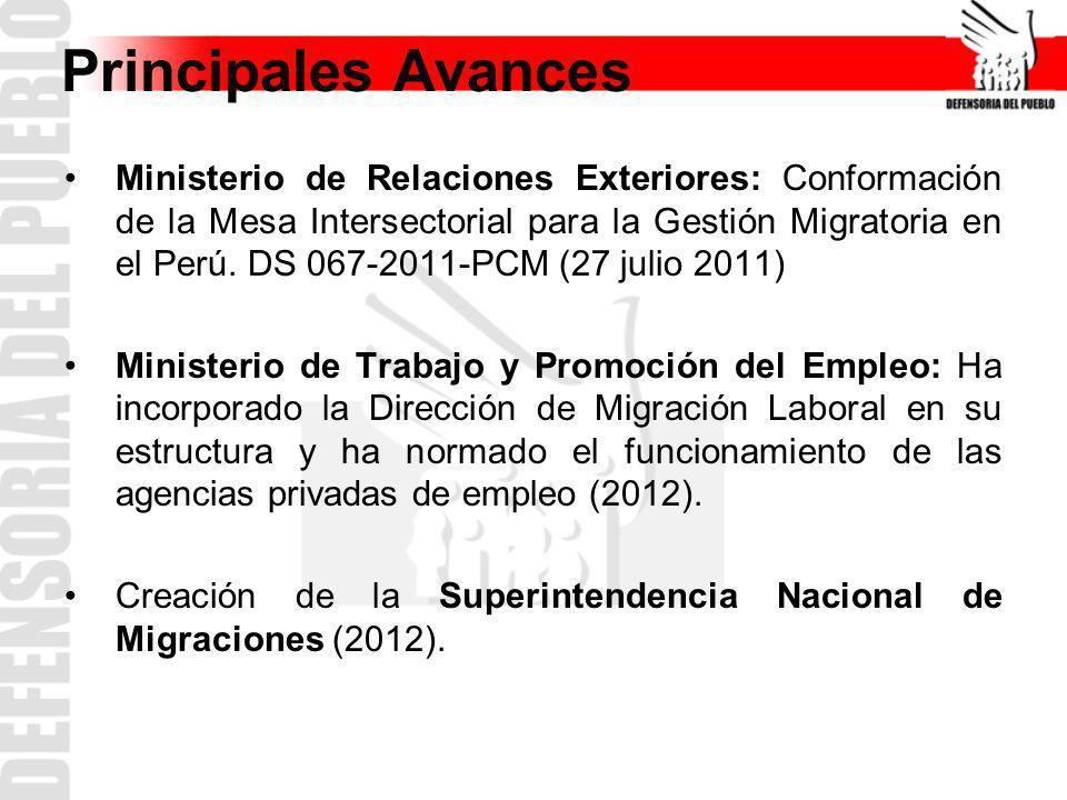 Principales Avances Ministerio de Relaciones Exteriores: Conformación de la Mesa Intersectorial para la Gestión Migratoria en el Perú. DS 067-2011-PCM