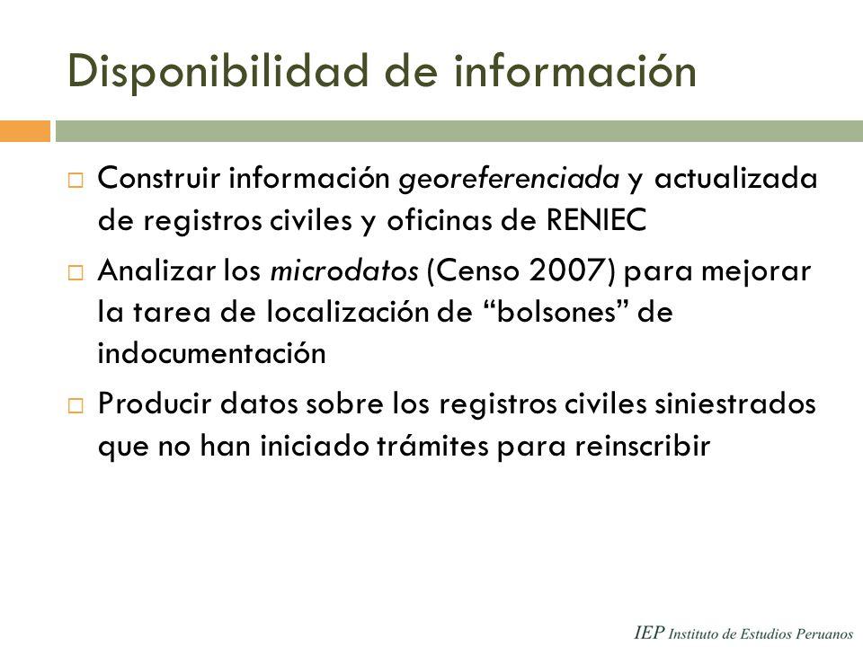 Disponibilidad de información Construir información georeferenciada y actualizada de registros civiles y oficinas de RENIEC Analizar los microdatos (Censo 2007) para mejorar la tarea de localización de bolsones de indocumentación Producir datos sobre los registros civiles siniestrados que no han iniciado trámites para reinscribir