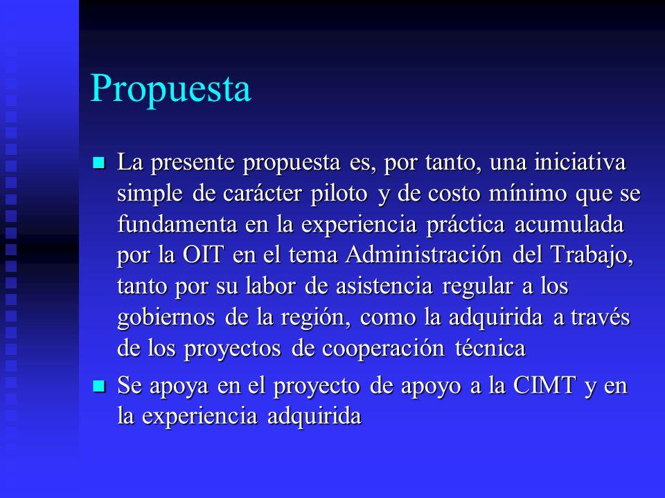 La presente propuesta es, por tanto, una iniciativa simple de carácter piloto y de costo mínimo que se fundamenta en la experiencia práctica acumulada