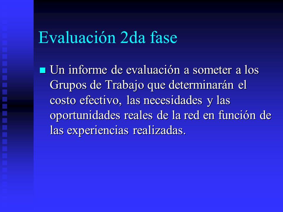 Evaluación 2da fase Un informe de evaluación a someter a los Grupos de Trabajo que determinarán el costo efectivo, las necesidades y las oportunidades reales de la red en función de las experiencias realizadas.